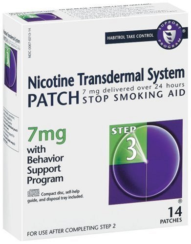 Nicotine Patch système transdermique, Stop Smoking Aid, 7 mg, Etape 3, 14 patchs