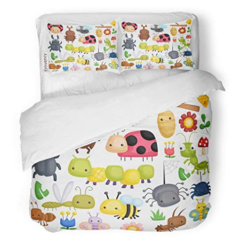 MIGAGA Decor Duvet Cover Set Twin Size Colorful Spider Bug Many Content Green Animal Cartoon Cute 3 Piece Brushed Microfiber Fabric Print Bedding Set Cover]()