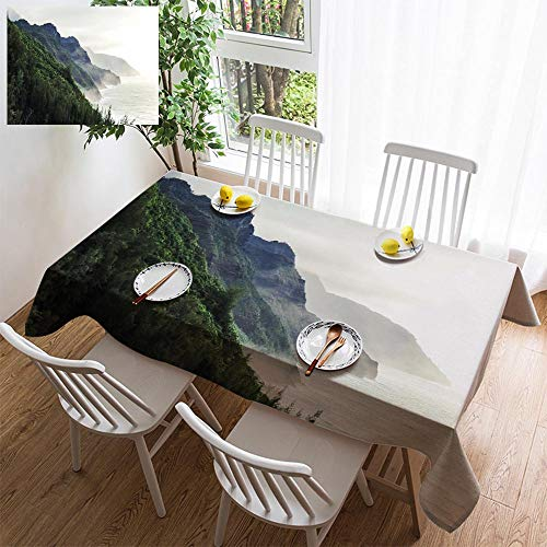 (HOOMORE Simple Color Cotton Linen Tablecloth,Washable, Kalalau Trail at Kauai Hawaii in Foggy Day Decorating Restaurant - Kitchen School Coffee Shop Rectangular 120×60in)