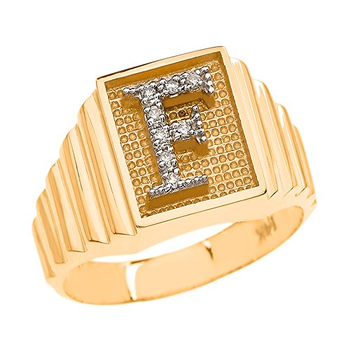 Men's 10k Yellow Gold Layered Band Square Face Diamond Initial Letter Ring (Size 7.0)