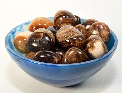 Caramel Agate (5PCS Natural Sardonyx/Caramel Onyx Pebbles Polished Brown/Yellow Cabochon Gemstone Crystal Mineral Specimen Cabs from Peru)