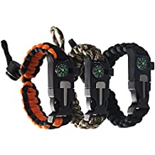 Tebery Tactical Survival Bracelet, Paracord Bracelet With Paracord 550, Compass, Fire Starter, Loud Whistle, Emergency Knife - Slim Buckle Design (Pack of 3)