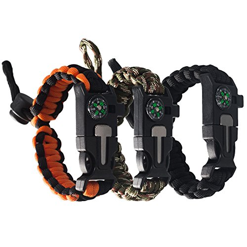 Tebery Tactical Survival Bracelet, Paracord Bracelet With Paracord 550, Compass, Fire Starter, Loud Whistle, Emergency Knife - Slim Buckle Design (Pack of (Desert Survival Gear)