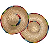 ISusser 2Pc colorful straw hat, hat flanging, Home Furnishing decoration - Mini Sombrero Top Hat Headband Fiesta Party Supplies