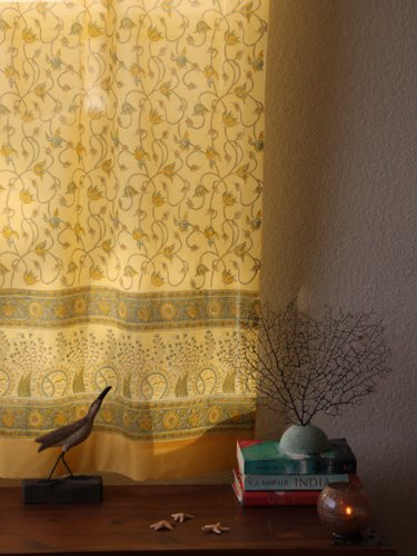 (Saffron Marigold - Waltz of the Vines - Yellow, Green, and Brown Ocean Inspired Hand Printed - Elegant Romantic Sheer Cotton Voile Curtain Panel - Tab Top or Rod Pocket - (46 x 108))