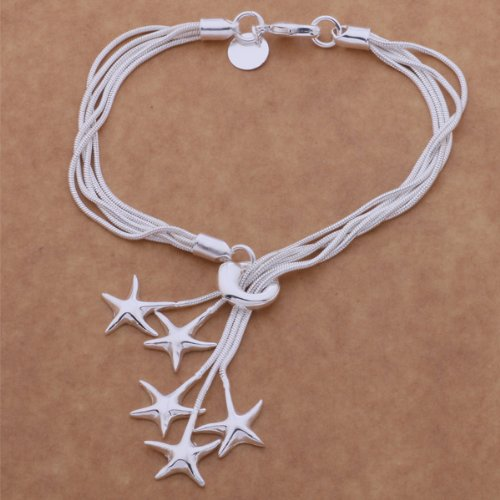 Cute Silver Charm Bracelet With Silver Star Charms For Women Teen