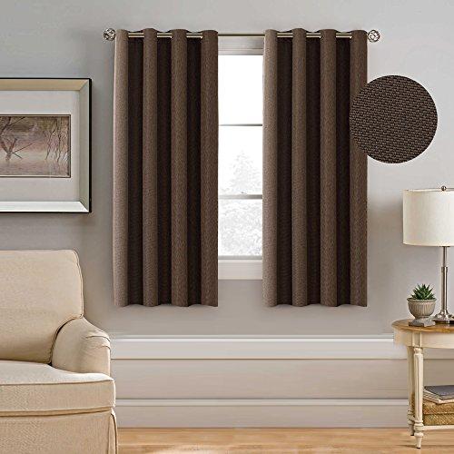 H.Versailtex Premium Energy Efficient Spring Fashion Curtain,Room Darkening Thermal Insulated Rich Linen Short Window Panel,Elegant Grommet,52x63 Inch-Brown (1 Panel) (Curtains Window Short)