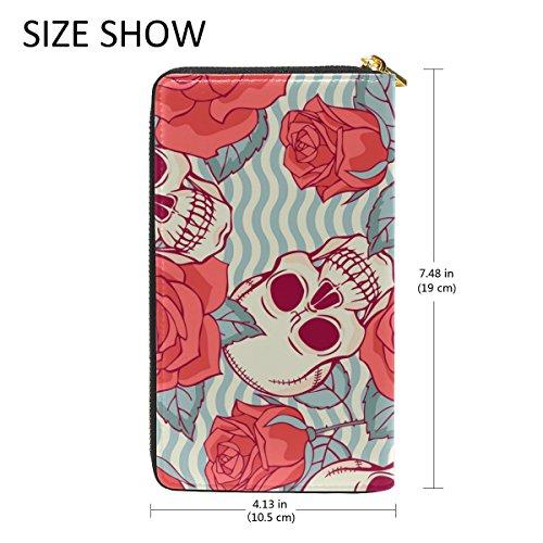 Wallet Handbags Skull Clutch And Organizer Zip 6 Purses Sugar Flower Womens TIZORAX Pattern Around wTxnHqUPW