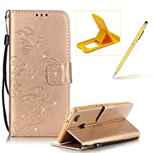 Wallet Case for Huawei P9 Lite,Strap Portable Leather Case For Huawei P9 Lite,Herzzer Stylish Bling Diamonds Gold Butterfly Embossed Pu Leather Purse Pouch Magnetic Closure Flip Folio Protective Case