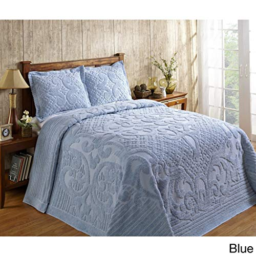 1 Piece Blue Oversized Chenille Bedspread King, Coastal Solid Color Medallion Pattern Extra Long Wide Drapes Over Edge Drops Down To The Floor Oversize Bedding Flower Shabby Chic Warm Cozy, Cotton