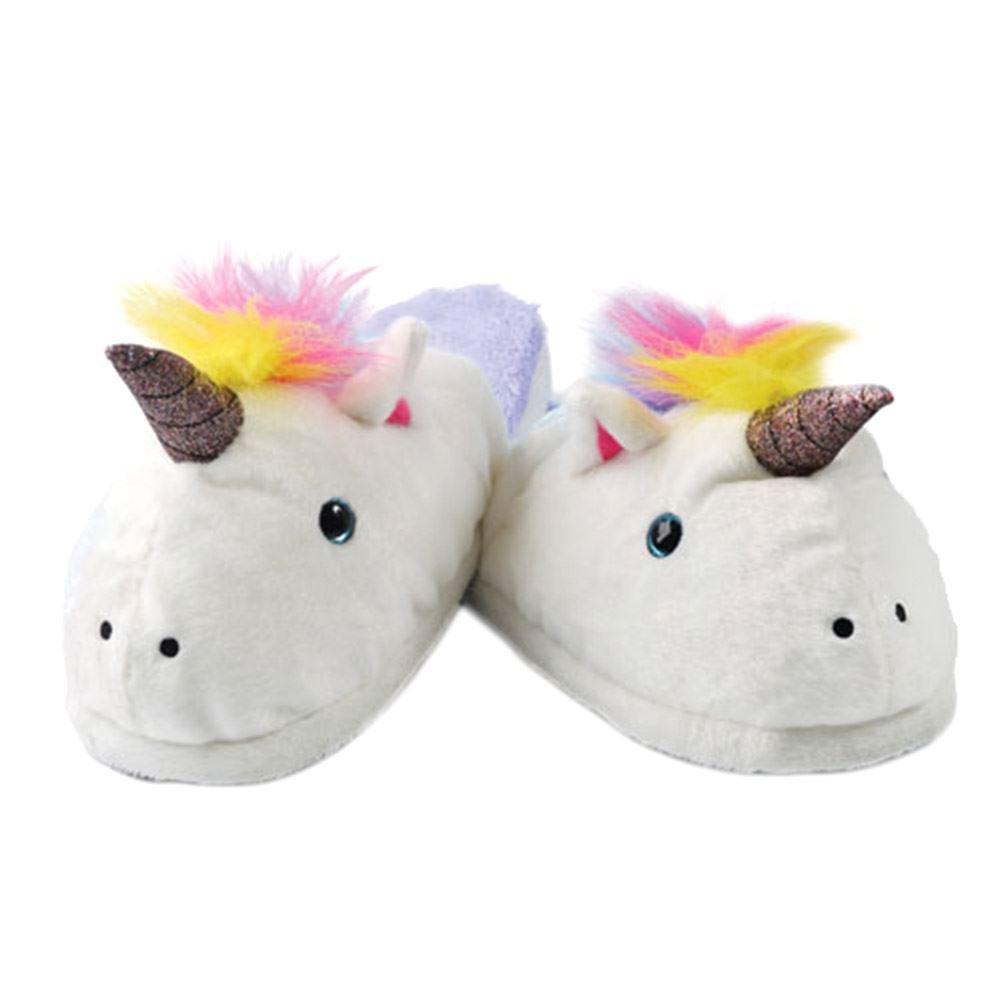 Ladies unicorno peluche slip-on pantofole - fino a taglia UK 7   EU Taglia 41