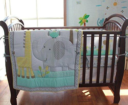 NAUGHTYBOSS Baby Bedding Set Cotton 3D Embroidery Owl Elephant Giraffe Quilt Bumper Bed Skirt Mattress Cover 7 Pieces Multicolor by NAUGHTYBOSS