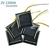 AOSHIKE 10Pcs 2V 130MA Micro Solar Panels Photovoltaic Solar Cells With 15CM Wires Power Charger Solars Epoxy Plate DIY Projects Toys 54x54mm (2V 130MA 54x54MM)