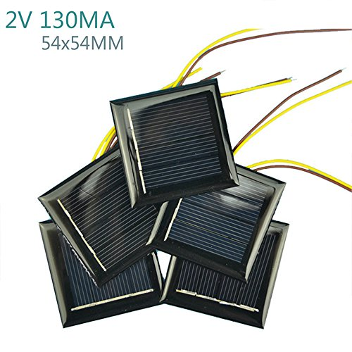 AOSHIKE 10Pcs 2V 130MA Micro Solar Panels Photovoltaic Solar Cells With 15CM Wires Power Charger Solars Epoxy Plate DIY Projects Toys 54x54mm (2V 130MA 54x54MM) by AOSHIKE