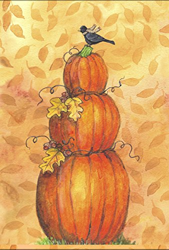(Toland Home Garden Pumpkin Tower 28 x 40 Inch Decorative Fall Autumn Leaves Bird House Flag)