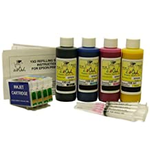 InkOwl® - 4 Refillable Cartridges for EPSON 200, 200XL with 4x120ml USA pigment ink for use in Expression Home XP-200, XP-300, XP-310, XP-400, XP-410 and WorkForce WF-2510, WF-2520, WF-2530, WF-2540