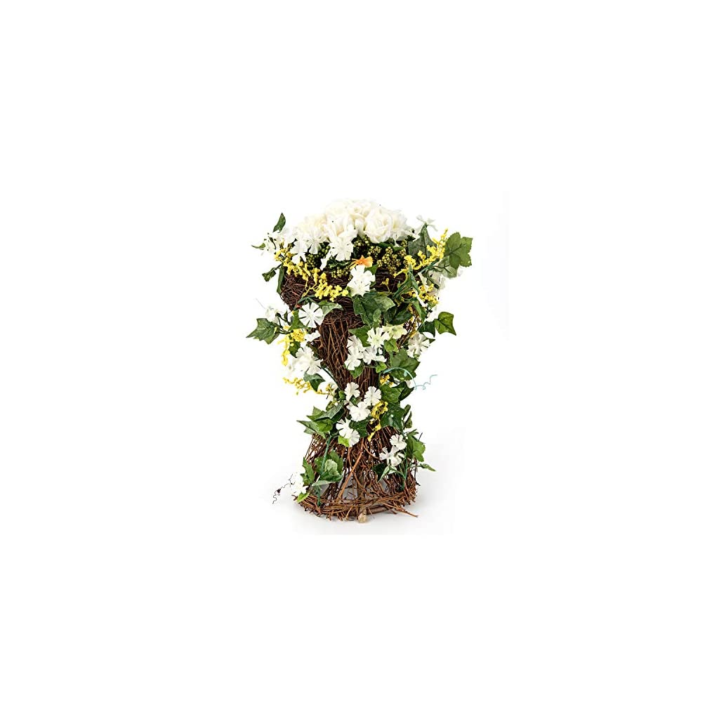BEGONDIS Artificial Rose Flowers with Rattan Base, 14.9″ Fake Silk Floral Arrangement for Home Office Decorations, Wedding Table Centerpieces Indoor Outdoor. (White)