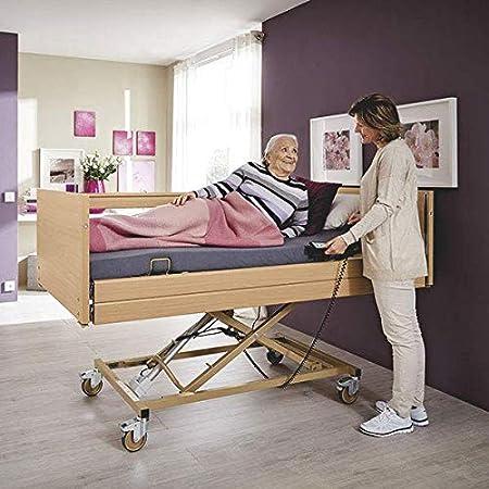 De Luxe - Cuna eléctrica con colchón y ayuda para levantarse, ajustable eléctricamente, cama ortopédica con altura regulable para personas mayores y mayores ...