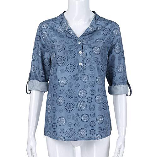 Manches Subfamily Haut d'automne Manches Fleurs Shirt Chemise Blouse Longues lache T Femme Bleu Chemiser Top Longues rXUxXwEq