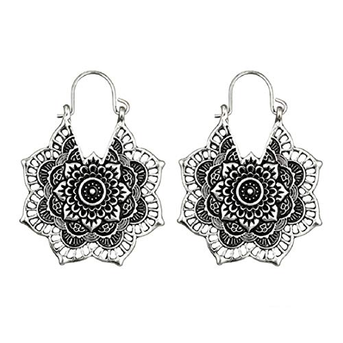 (Elegant Lady Hoop Earrings Hollow Out Flower Drop Dangle Earrings Antique Silver Lotus Earrings Charm Jewelry by Lowprofile)