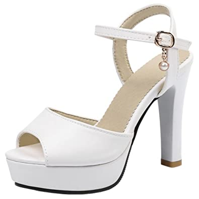 COOLCEPT Damen Mode Knochelriemchen Sandalen Peep Toe Stiletto Schuhe (48EU,White)