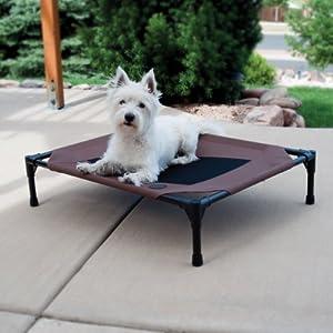 "K&H Pet Products Original Pet Cot Elevated Pet Bed Medium Chocolate/Mesh 25"" x 32"" x 7"""