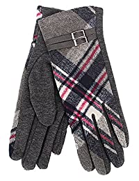 Tartan Traditions Ladies Tartan with Coloured Buckle Lined Gloves (Grey)