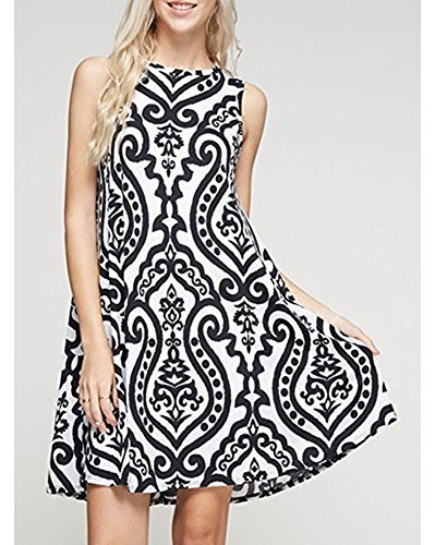 Noir Beach Loose Florale Casual Party Casual Femme Manches Robe Dress Vintage and ZiXing Sans xnBaqOSfwv