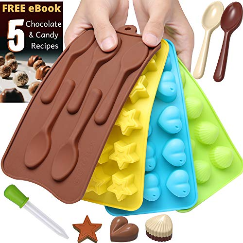 Chocolate Candy Mold Silicone Trays + Recipes eBook - Nonstick, BPA-Free and FD Approved - Make Fun Chocolate Shapes, Gummy Candies, Hard Candy and Ice (Stars, Shells, Hearts & Spoons - 4 trays)