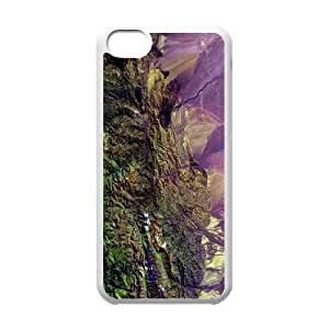 iPhone 5C Case,Mountains From Space Hard Shell Back Case for White iPhone 5C Okaycosama383570