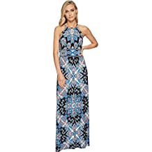 London Times Women's Keyhole Halter Inset Waist Maxi Dress