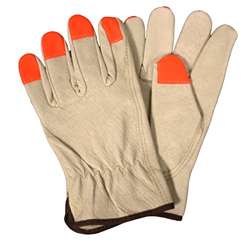 Cordova Safety Products 8810HVM Select Grain Pigskin Driver Gloves with Fabric Fingertips, Medium, Hi-Vis Orange