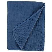 Stone & Beam Locklar Pick-Stiched Blanket, 80  x 60 , Navy