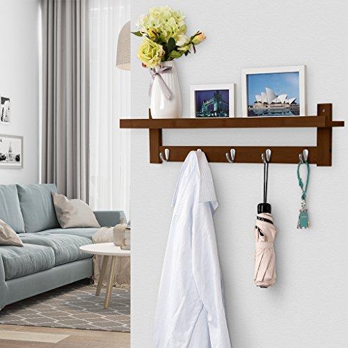 LANGRIA Coat Rack Shelf, Coat Rack Wall-Mounted Bamboo Wooden Hook Rack with 5 Metal Hooks and Upper Shelf for Storage Scandinavian Style for Hallway Bathroom Living Room Bedroom, Bamboo Brown Color by LANGRIA (Image #5)