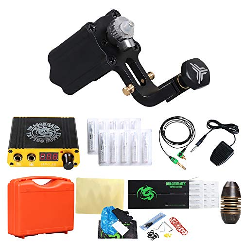 - DragonHawk Extreme V2S Rotary Tattoo Machine Power Supply Traditional Tattoo Needles Grips with Clip Cord Foot Pedal TZ108