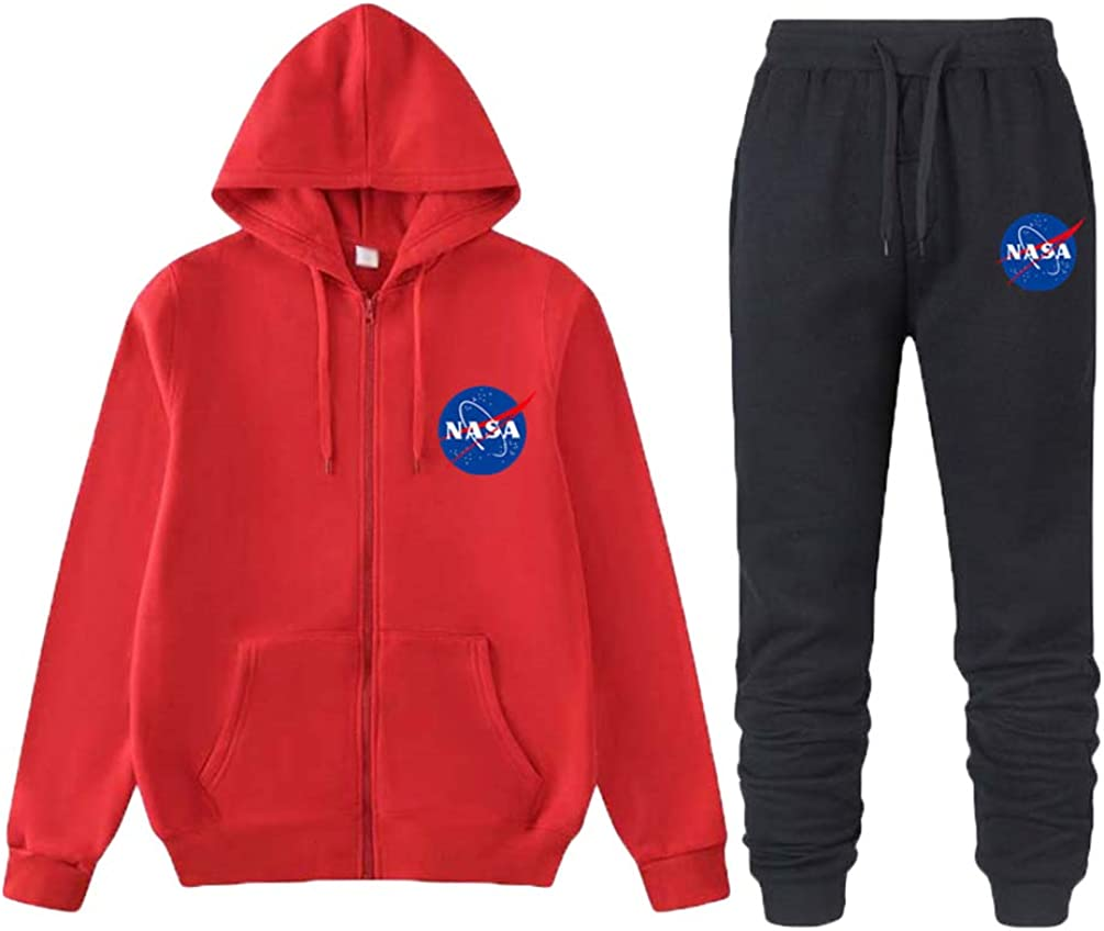Ketamyy Mens Womens Pullover Hoodie and Pants Set Winter Volvet Lining Casual Sweatshirts Hip Hop NASA Logo Printed Hooded Jumper Sweater with Pockets Jogging Suits