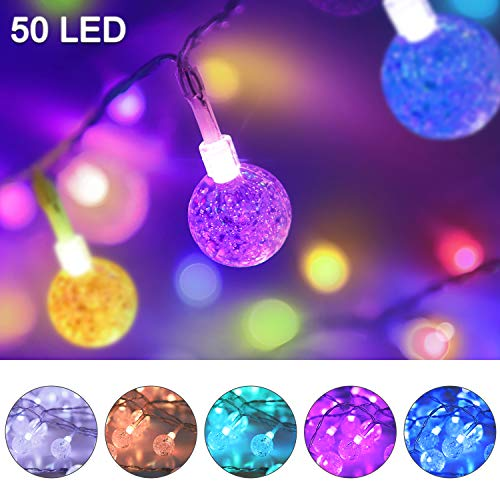 Color Changing Globe String Lights USB Plug, 16.4 ft 50 LEDs Crystal Bubble Ball Fairy Lights with Remote Control Timer Ambient Lighting for Girls Bedroom Home Xmas Halloween Party Decor (16 Colors) (String Indoors Lights)