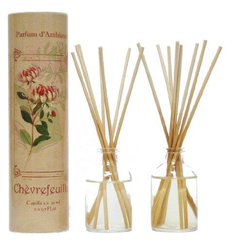 Provence et Nature: Geißblatt Raumbedufter (Raumduft) mit Holzstäbchen, 2 x 50 ml Glasflaschen