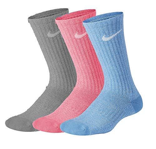 Nike Boy`s Performance Cushioned Dri FIT Crew Socks 3 Pack (Marble(VN0016-B9F)/Blue, 6-7) (Cheap Blue Nike Socks)