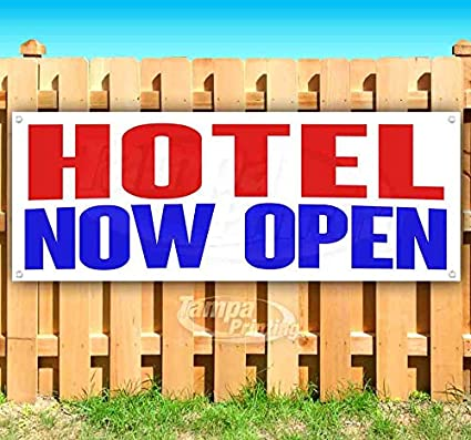 Flag, New Advertising Store Many Sizes Available Hotel Now Open 13 oz Heavy Duty Vinyl Banner Sign with Metal Grommets