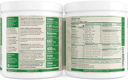 Nested Naturals Super Greens – Green Superfood Powder Booster, Promote Energy & Vitality Nutrient-Rich superfoods | 30 Servings Contain Spirulina, Wheat Grass, Barley, Probiotics, Fiber & Enzymes
