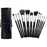 Professional Makeup Brush Set - Premium Quality - 12 Vegan Synthetic Brushes with Wooden Handle - Best Kabuki Cosmetic Kit in Organizer Holder Case