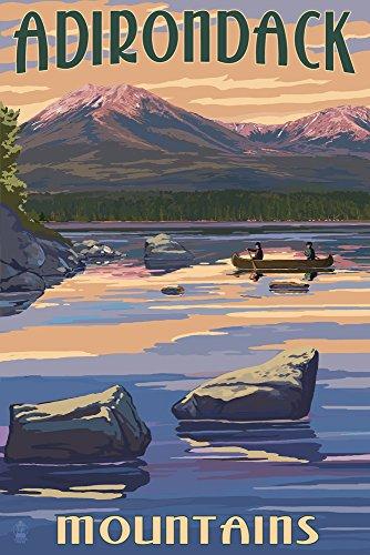 Adirondack Mountains, New York - Lake and Mountain View (9x12 Art Print, Wall Decor Travel Poster)