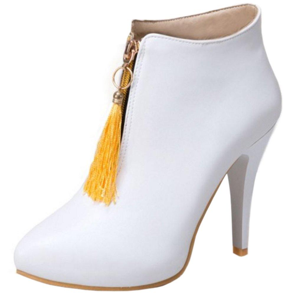 RAZAMAZA Damen Hoch Absatzs Fransen Stiefel Kurzschaft Stiefeletten  35.5 EU|White