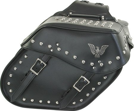 Detachable Motorcycle Throwover Saddlebags Slanted with Studs For Harley Davidson, Kawasaki, Honda, and Suzuki