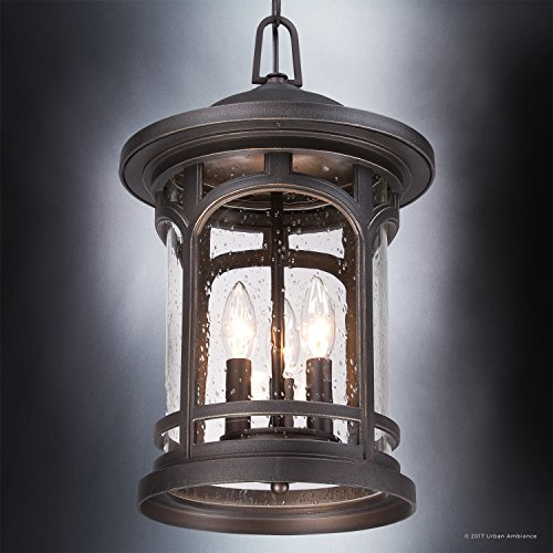 Luxury Rustic Outdoor Pendant Light, Large Size: 18''H x 11''W, with Colonial Style Elements, Wrought Iron Design, Oil Rubbed Parisian Bronze Finish and Seeded Glass, UQL1109 by Urban Ambiance by Urban Ambiance (Image #3)