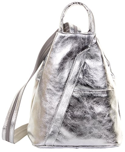 Primo Sacchi Italian Leather Metallic Silver Top Handle Shoulder Bag Rucksack Backpack by Primo Sacchi