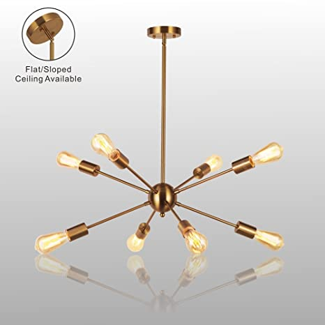 Amazon sputnik chandelier light vinluz 8 lights brushed brass sputnik chandelier light vinluz 8 lights brushed brass modern pendant lighting gold mid century ceiling mozeypictures Choice Image