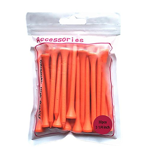 Wood Golf Tees 3 1/4 Inch Orange Color 30 Count