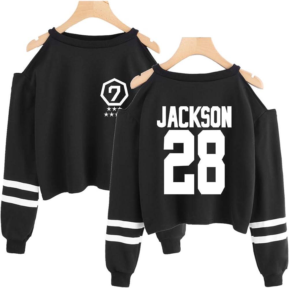 NCTCITY Kpop GOT7 /Épaules D/énud/ées Sweat-Shirts Crop Sweats Imprime Manche Longue Loisir Pullover Exposer Le Nombril Tops pour Femmes JB Bambam Jackson Mark Jinyoung Yugyeom Youngjae